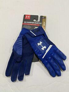Under Armour Harper Hustle Batting Gloves Youth Sz M Royal Blue 1318093-400