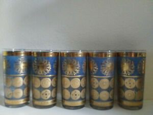 Cera Gold Blue Drinking Glasses  Nautical 5 In Set