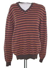 zara maglione maglioncino uomo marrone righe lana taglia l large