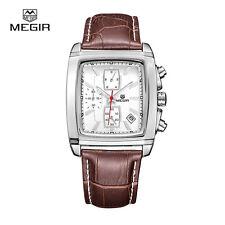 MEGIR SL2028G Leather Quartz Watches Men Strap Waterproof Wristwatch Brown