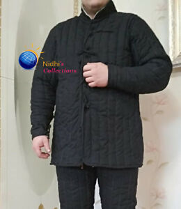 Medieval Gambeson Thick Padded Full Sleeves Coat Aketon Jacket SCA LARP