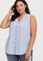 TORRID Harper - Blue Button-Up Tank Blouse - Torrid Size 2