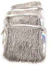 Lot of 10 : Lancome  Fringe Cosmetic Makeup Bag Case Zipper ~ Silver