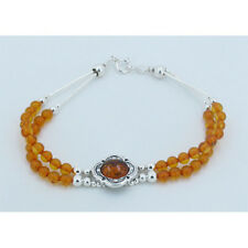 PETITE QVC Double Strand 925 Sterling Silver Natural Golden Amber Bracelet