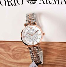 NEW GENUINE EMPORIO ARMANI AR1926 GIANNI T-BAR ROSE TWO TONE WOMENS WATCH UK