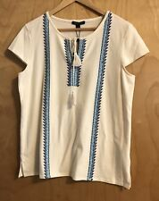 Tommy Hilfiger Womens Ivory Tee With Blue Embroidery Size L NWT $59