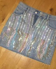 Topshop beaded denim skirt, size 8, new with tag