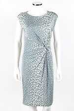 GUCCI Blue White Animal Leopard Print Boat Neck Knot Waist Knit Shift Dress Sz M