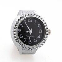 Reloj de Anillo Cuarzo Aleacion Plateado Esfera Negra para Mujer Senora T2N2