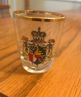 """Shot Glass Furstentum Liechtenstein-Royal Crest-2"""" Tall-Gold Rim-SHIPS FREE"""