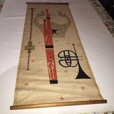 MID CENTURYMODERN ROSS LITTELL SILKSCREEN LINEN WALL HANGINGvMUSICALvINSTRUMENTS