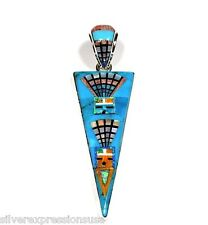 Multi Color Stones & Turquoise Inlay 925 Sterling Silver Kachina Doll Pendant