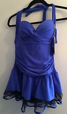 NWT Jinhong Sports XXL (L) Cobalt Blue Ruched Swim Suit Swim Dress, Sheer Ruffle