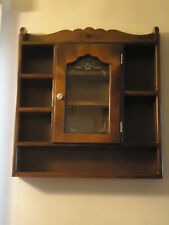 "Vintage Wood Glass Solid Wall Mount Cabinet Shelf Display 25"" Wide"