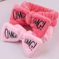 Candy Color OMG Letters Bow Headband Coral Fleece Wash Face Makeup Hairband