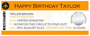 Personalised Surprise Holiday Birthday Gift Travel Scratch Card Boardng Pass