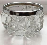 Vintage Cut Glass Bowl With Silver Tone Rim 10 Cm Diameter. 7 Cm High.