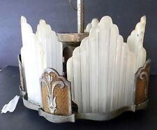 Art Deco Slip Shade Hanging Light Fixture Needs complete Restoration 1920