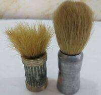 2Primitive Vintage Men's Shaving Brush Bath Old Collectible Israel Silver Plated