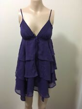 "BNWT ""Valleygirl"" purple pin stripe frilly spaghetti strap flowy dress sz 8"