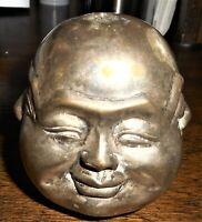 FOUR-FACED BUDHA HEAD - SILVERED BRONZE