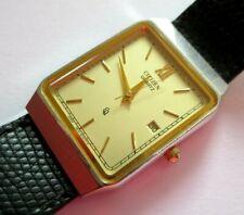 Montre Citizen homme Vintage rectangulaire couleur or bracelet cuir classique