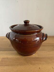 Vintage Stoneware Brown Lidded Crock Casserole Pot Brown Glaze