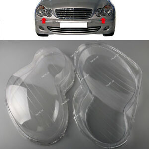 For Mercedes Benz W203 C280 C350 01-07 Clear Lens Shell Cover Headlight L+R Set
