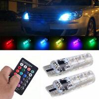 2x T10 W5W 5050 RGB Remote Control Car LED Light 6SMD Colorful Side Light Bulbs
