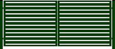 Gartentor Tor 2 Flügelig mit Füllung 350x150 80 Schloß und Klinke grün RAL6005