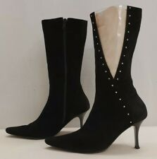 AZUREE CANNES ladies womens studded leather mid calf boots Size UK 3.5 EU 36.5