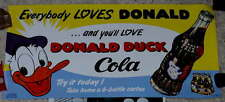 """MINT VINTAGE 1950's """"DONALD DUCK COLA"""" SIGN"""