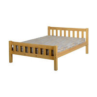 Carlow Antique Pine Bed Frame Double 4ft 6 Wooden Solid Bedroom Home Furniture