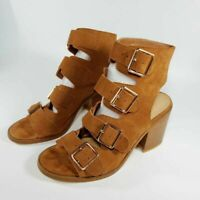 Buckle Rag & Co Womens Sandal Block Heel Shoes Brown Leather Cow Suede 7.5