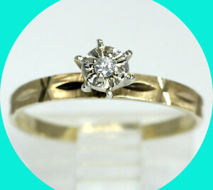 Diamond solitaire engagement ring yellow gold .03CT round brilliant promise