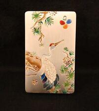 Korean CJ Group 990 Silver Business Card Holder with Crane Design