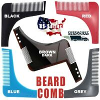 BLACK BROWN Beard Styling Shaping Comb Shaper Shaving Stencil Template Tool Set