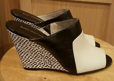 Ann Marino Black/White Colorblock Leather  Wedge Sandal, 8M