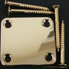 Gold plated neck plate and screws for electric guitar NEW 47x50mm TL ST LP bass