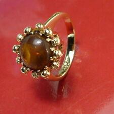 54 (17,2 mm Ø ) Fantastico antico anello con ambra donna oro giallo 333/8K