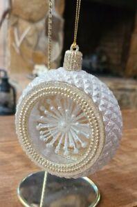 Glitter Silver & Gold Ball Christmas Ornament Starburst Center Kurt Adler