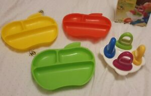 Munchkin 3 Lil' Apple Plates Green, Red And Yellow & Nuby Fruitsicles Set - Used