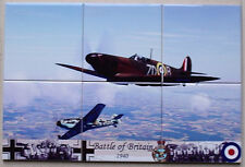 Battle of Britain - Me 109 vs RAF Royal Air Force Spitfire  6 CERAMIC TILE SET