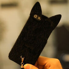 3D Cute Lovely Velvet Cat with Tail Case Cover Gift For iPhone 4/4s New Black