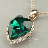 9K GF ROSE GOLD FILLED MADE WITH SWAROVSKI CRYSTAL GREEN HEART PENDANT NECKLACE