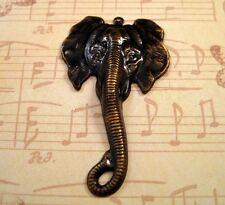 Large Antiqued Brass Elephant Charm Stamping (1) - Antsg5845R