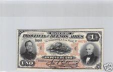 ARGENTINE BANCO DE BUENO AIRES 1 PESO DE ORO 1.1.1883 N° 395759 PICK S 545 RARE
