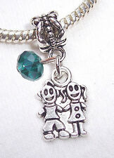 Twins Boy Girl Brother Sister May Birthstone Dangle Bead for Euro Charm Bracelet
