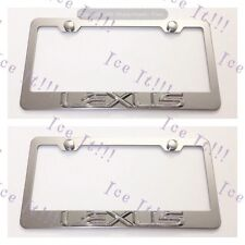 2X 3D LEXUS Emblem Stainless Steel License Plate Frame Rust Free W/ Caps