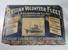 "Russian Volunteer Fleet Steamship Steamer Travel  Steel Sign-20"" x 13 3/4"" -1906"